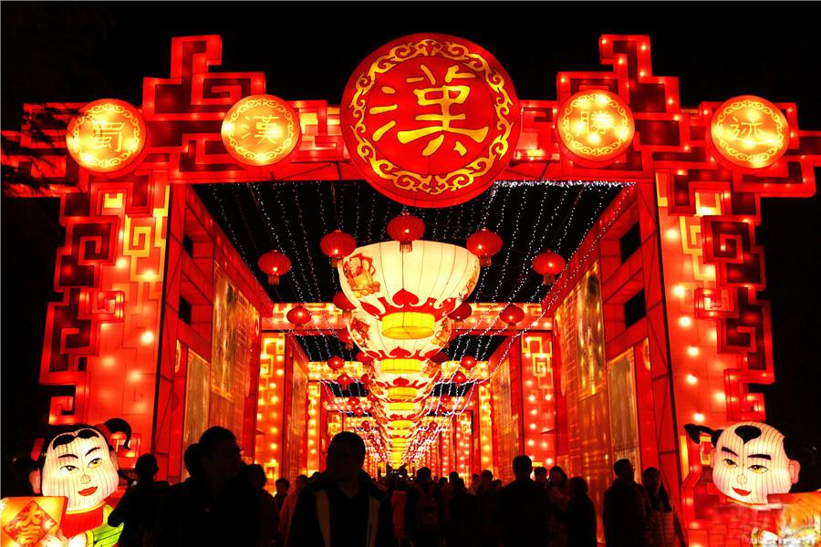 """四川自贡灯会设计制作公司创作的""""中国彩灯节""""灯会在洛杉矶盛大开幕"""